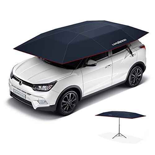 LANMODO Car Tent, Portable Automatic Car Umbrella Tent Remote Control with Anti-UV,Water-Resistant,Proof Wind,Snow,Storm, Hail, Falling Objects Features 137.8X82.7 inch (3.5M Auto without Stand, Navy)