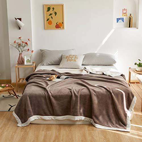FYLHX Wohndecke,Leicht Gemütlich Kuscheldecke Mikrofaser Solide Warm Fleecedecke Für Couch Bett Sofa Stuhl Home Decor 79x91zoll Gelb-Braun. 200x230cm(79x91inch)