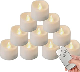 Homemory 12Pcs Remote Control Tea Lights Flickering with Timer, Long Lasting Battery Operated LED Candles with Remote, or ...