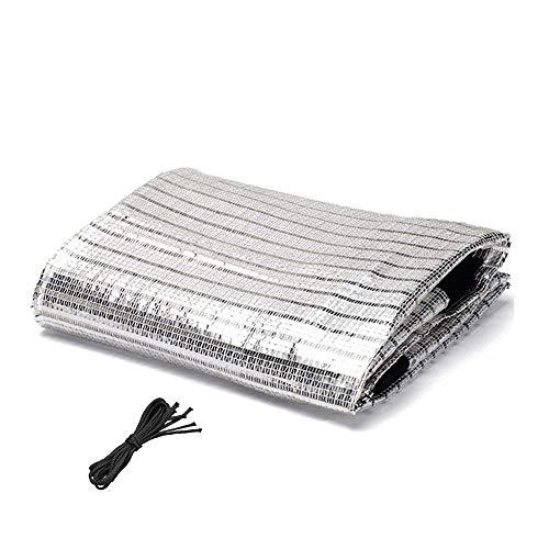 Reflektierendes Aluminiumnetz, Aluminiumfolie, Stoff, Sonnenschutz, Kühlung, Schattennetz mit Kordelzug, 2 m x 2 m