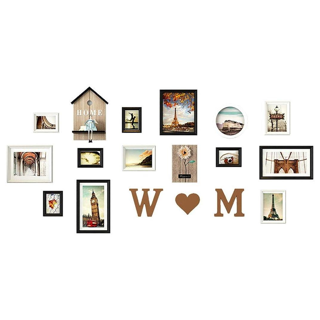 騒延ばす内側フォトフレーム ヨーロッパの近代的なミニマリストの写真の壁の装飾の結婚式の部屋の寝室の壁フォトフレーム創造的な組み合わせのフォトフレーム 壁掛け (Color : 01, Size : Free size)
