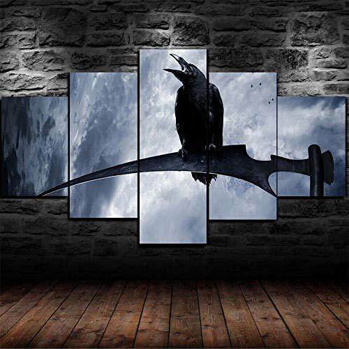 IMXBTQA Cuadro En Lienzo,Imagen Impresión,Pintura Decoración,Canvas De 5 Pieza,175X80Cm,Muerte De Guadaña Gótica De La Muerte Mural Moderno Decor Hogareña con Marco