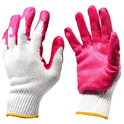 HSTORY Blue Red Palm Latex Rubber Coated Knit Working Gloves Bulk Pairs Gardening Gloves - Made In Korea (One Size, Red - 300 Pair)