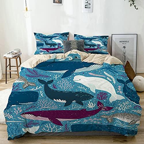 CONICIXI Funda Nórdica Cama Estampada Reversible Ballenas Marinas Delfines Pulpo Medusa Estrella de...
