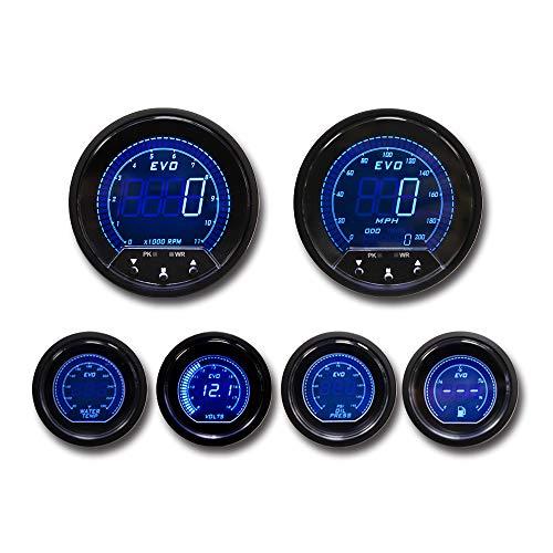 MOTOR METER RACING EVO Series Digital 6 Gauge Set Includes GPS Sensor mounting kit