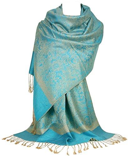 GFM Pashmina Stijl in Bloemen Paisley Bladeren Patroon Sjaal Wrap