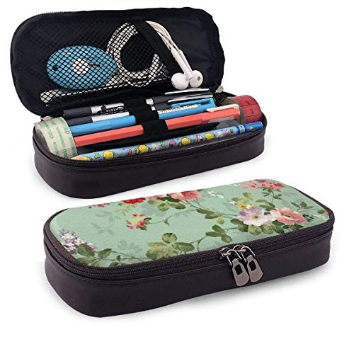 Lawenp Vintage Floral Flowers Pattern Leather Pencil Case for School Students Office Pen Pencils Box