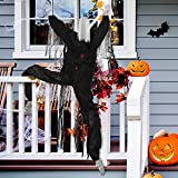 """YoleShy 63"""" Life-Size Halloween Climbing Zombies Scary Hanging Ghost with Bloodstains Haunted House Prop Halloween Decor for Outdoor/Garden/Wall/Party/Window/Bar (Black)"""