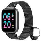 AIMIUVEI Smartwatch Donna Uomo, Orologio Fitness Full Touch 1,4 Pollici Cardiofrequenzimetro da Polso Pressione Sanguigna Contapassi Calorie Notifiche Messaggi Smart Watch IP67 per Android iOS Nero