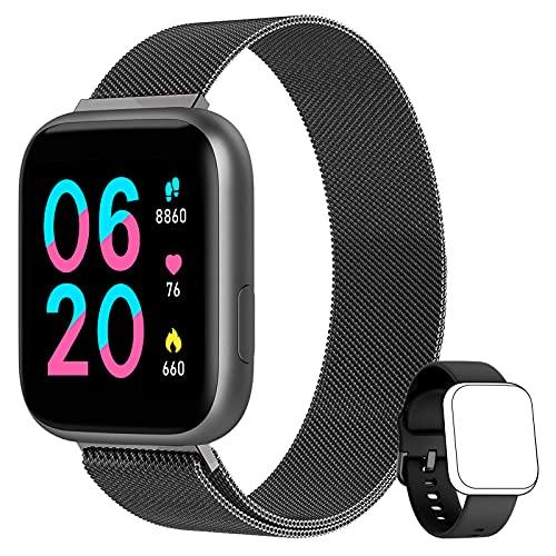 AIMIUVEI Smartwatch, Reloj Inteligente Mujer Hombre con 1.4 Inch Táctil Completa con Pulsómetro, Presión Arterial, Notificaciones Inteligentes, Reloj Inteligente IP67 para Android iOS Negro