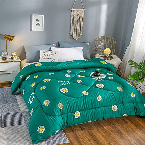 GYHH Duvets, Quilts, Cotton Duvets, Thickened Two-person Warm Autumn and Winter Quilts, Bedding,anti-mite and Down Fabric (Flower/green,200 * 230cm/4kg)