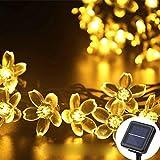 HFFFHA Solar Girlanden Licht 12 Mt Peach Blume Solarlampe Power LED String Fairy Lights 6V Garten Weihnachtsdekor für den Außenbereich,Warm