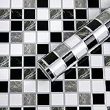 Fantasnight Mosaico Vinilo Decorativos Adhesivo para Azulejos Cocina 44X400cm Vinilos para Baldosas Impermeable Papel Pintado Autoadhesivo Baño
