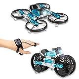 CANOPUS Azul, Deformable Quadcopter Drone, 2 en 1 Plegable en Motocicleta, Juguetes para niños,...
