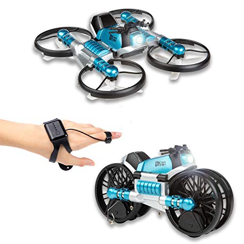 CANOPUS RC Quadcopter Drone, Blue, 2-in-1 Foldable into Motorbike, Easy to Fly Drone for all Kids, Beginners and Adults, Hand Remote Operated, Controlled by Hand Moves and Gestures