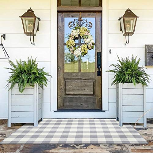Ailsan Buffalo Plaid Checkered Rug Outdoor Layered Doormat 3' x 5' Cotton Farmhouse Gray/White Woven Check Rugs Machine Washable Porch Floor Mats Throw Carpet for Bedroom Kitchen Laundry