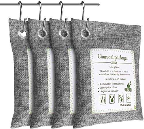 LONEA 4 Pack Bamboo Charcoal Air Purifier Bag, Naturally Activated Charcoal Bags Odor Eliminators for Home, Pets Areas, Car, Closet, Basement, RV, Gym Bags etc (4 Hooks)