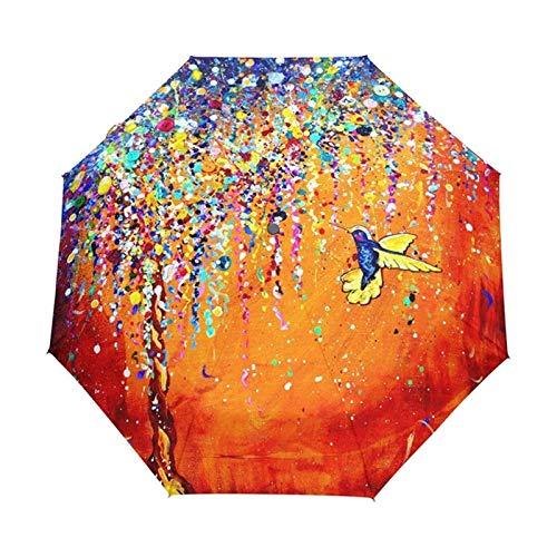 BUYYUB Paraguas Plegable Creativo Colorido Pájaro Compacto A Prueba De Intemperie Liviano Liviano Duradero Paraguas De Sombrilla Portátil