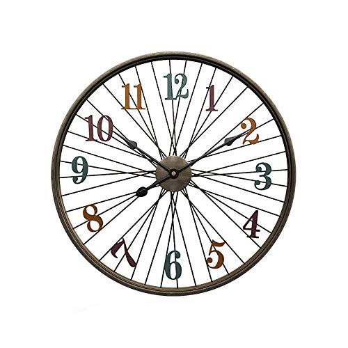 WWKDM1 Reloj de Pared, Material de Metal seleccionado, Creativo, Redondo, Negro, Reloj silencioso de Pared, Simple