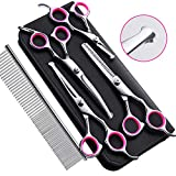 Gimars 4CR Stainless Steel Dog Grooming Scissors Kit with Safety Round Tip, Heavy Duty Titanium Coated Pet Grooming Trimmer Kit - Thinning, Straight, Curved Shears Comb for Pet