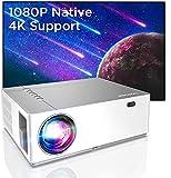 Bomaker Vidéoprojecteur Full HD Native 1080P Projecteur vidéo LED 300 Pouces Zoom 5D±50 ° Correction électronique Dolby Dual HDMI pour la présentation Home cinéma et Professionnelle Blanc (Blanc)