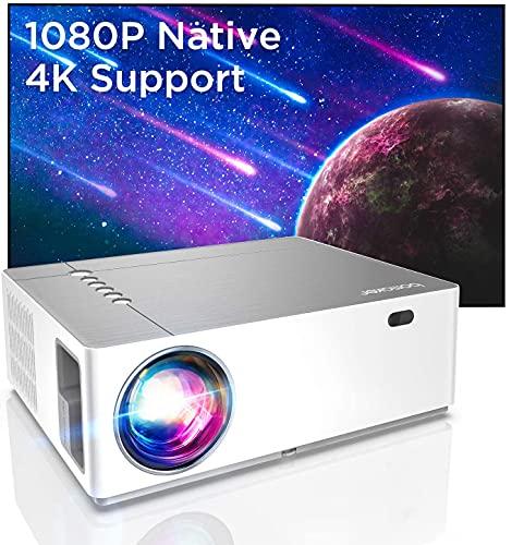 Bomaker Proiettore Supporta 4K 7200 Lm, Nativo Full HD 1080P, Correzione trapezoidale 6D e ± 50°, Bassa Latenza, 300\'\'Display/Dolby/2 USB/2 HDMI/SD/AV/VGA Per Office Work e Film all\'Aperto, Parrot Ⅰ