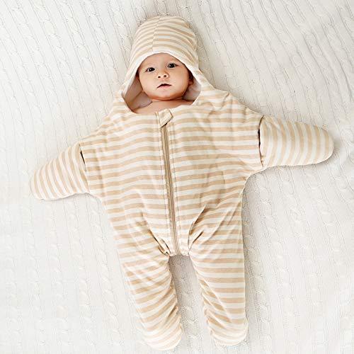 FREEDL Saco De Dormir Bebé Manga Larga con con Capucha Cálido Saco De Dormir Acolchado, Saco De Dormir con Pies De para Bebés con Dos Cremalleras, Manta Envolvente Suave para Niños 0-18 Meses 61cm