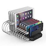Alxum Estación de Carga, Estación de Carga USB de 10 Puertos para múltiples Dispositivos, estación de Carga para Samsung Galaxy Tab, teléfono móvil, Tableta, Negro