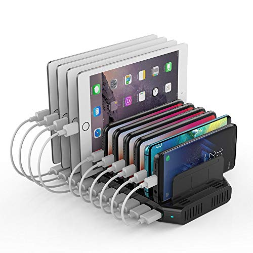 Alxum 60W 10 Port USB Charging Station Multiple Charger Station, USB Organizer Stand for iPad, iPhone Xs Max, X, 8 Plus, Samsung Galaxy, Google Pixel, LG stylo, Black