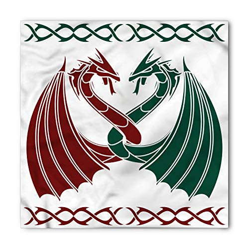 Lunarable Unisex Bandana, Celtic Mythical Dragons Intertwined, Green Red