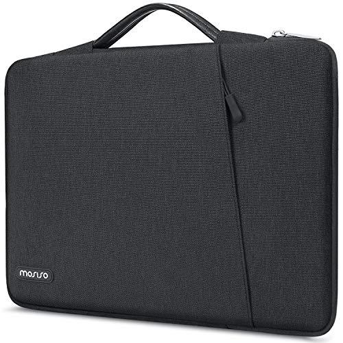 MOSISO 360 Protective Laptop Tasche Kompatibel mit 13-13,3 Zoll MacBook Pro, MacBook Air, Notebook, Stoßfeste Tragetasche Handtasche, Polyester Vertikale Tasche mit Abgeschrägter Fach, Space Grau