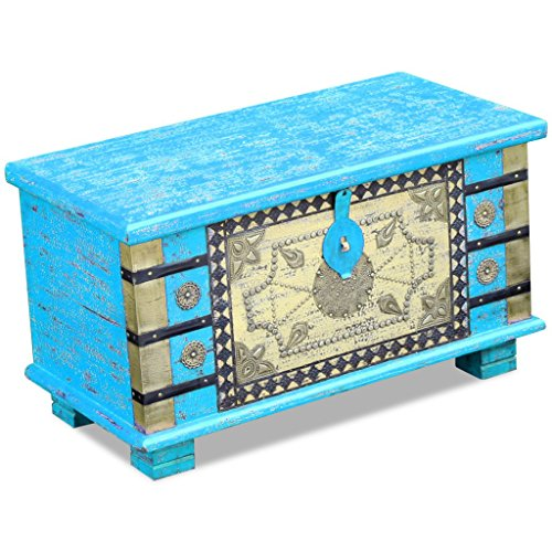 Festnight Abschließbar Aufbewahrungstruhe aus Mangoholz Dekorative Truhe Aufbewahrungsbox als Kaffeetisch Retro-Stil 80x40x45cm Blau - 6