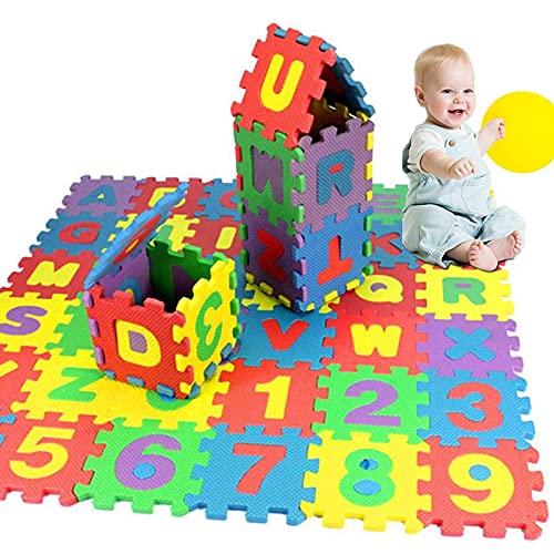 SMIDOW 36Pcs Kids Foam Play Mat | Kids Puzzle Exercise Play Mat | Baby EVA Foam Games Mat | Toddler Alphabet Number Crawling Mat | Interlocking Floor Tiles | Infant Indoor Activity Center