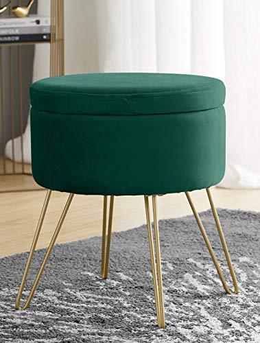 Ornavo家用现代圆形天鹅绒存放奥斯曼脚休息凳子/座椅有金金属腿&托盘上衣桌 - 翡翠绿色