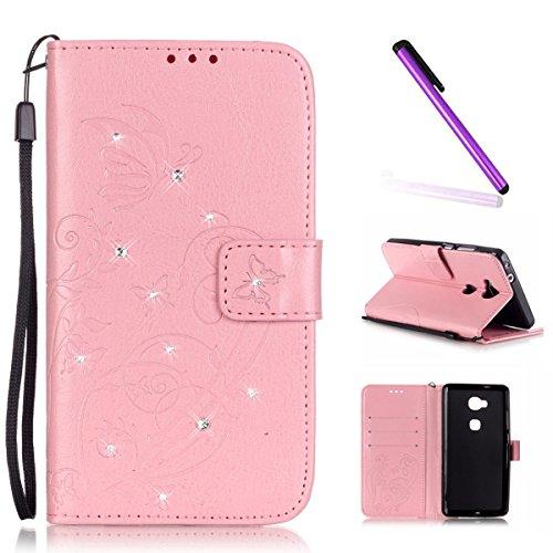EMAXELERS Huawei Honor 5X Hülle,Glitzer Schmetterling Ledertasche Lederhülle Handyhülle Wallet Case Tasche Handytasche Standfunktion Karteneinschub,Pink Butterfly with Diamond