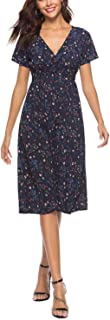 Womens Dresses Summer Casual V Neck Party Polka Dot Floral Dress Plus Size