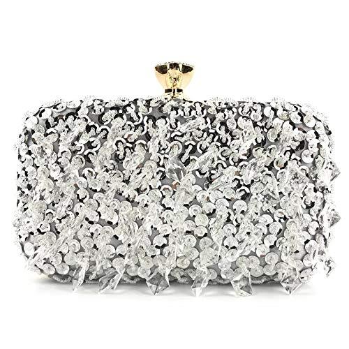 ZxHkj Damen-Clutches handgemachte Perlen Europäischen Und Amerikanischen Hängen Diamant Pailletten Kleid Clutch Abendtasche