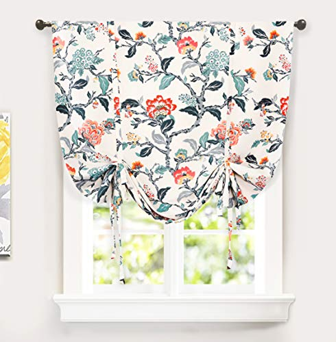 DriftAway Ada Botanical Print Lined Flower Leaf Tie Up Curtain Thermal Insulated Blackout Window Adjustable Balloon Curtain Shade Rod Pocket Single 45 Inch by 63 Inch Ivory Orange Teal