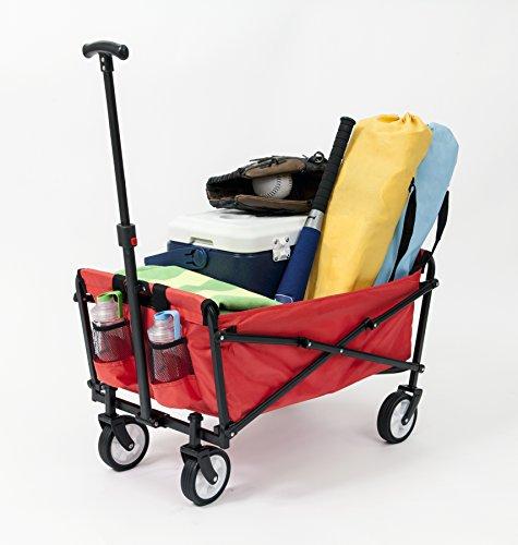 YSC Wagon Garden Folding Utility Shopping Cart,Beach Red (Navy Blue) (Regular, Deep Red)