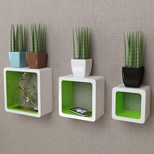 Lingjiushopping 3 wandplanken wit groen MDF voor boeken / dvd's Kleur: wit groen Materiaal: MDF met matte afwerking