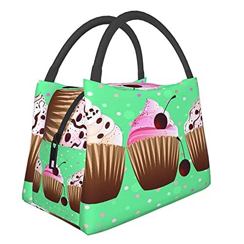 Portatile Isolato Borsa per il Pranzo,Dolci Cupcakes Dolci Con Pois,Borsa Termica Borsa da Picnic per Viaggi Scuola Lavoro