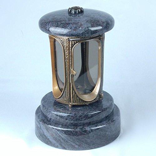 designgrab Aluminium Tombe Lampe avec Socle en Granit Ronde diamètre = 20 cm, Hauteur 5 cm, en Aluminium messingfarbenem Aspect Ancien et Granit Orion Blue/Coromandel/Bahama Blue