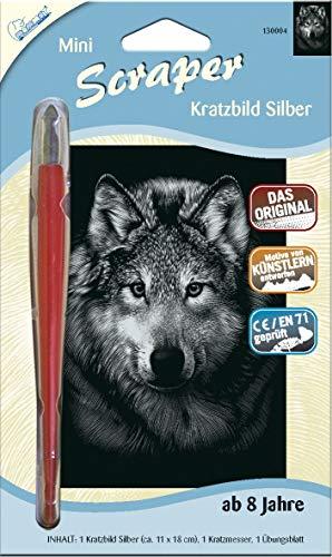 MAMMUT 130004 - Kratzbild, Motiv Wolf, silber, glänzend, mini, Komplettset mit Kratzmesser und Übungsblatt, Scraper, Scratch, Kritzel, Kratzset für Kinder ab 8 Jahre