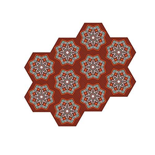 XIAOXIA 10 pegatinas hexagonales para suelo y pared, autoadhesivas, para salón, cocina, baño, escaleras, decoración de suelos, estilo marroquí, impermeable y antideslizante, B