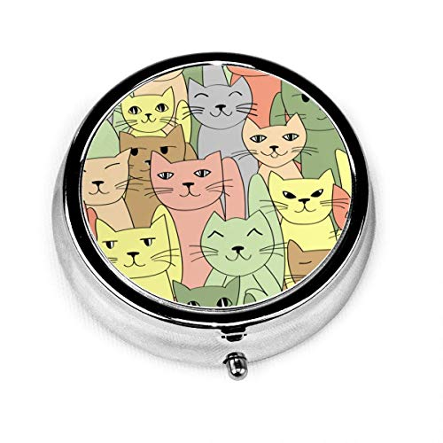 Round Pill Box Kitten Collage Personalized Silver Steel Decorative Box Medicine Tablet Case for Pocket Or Purse Unique Gift