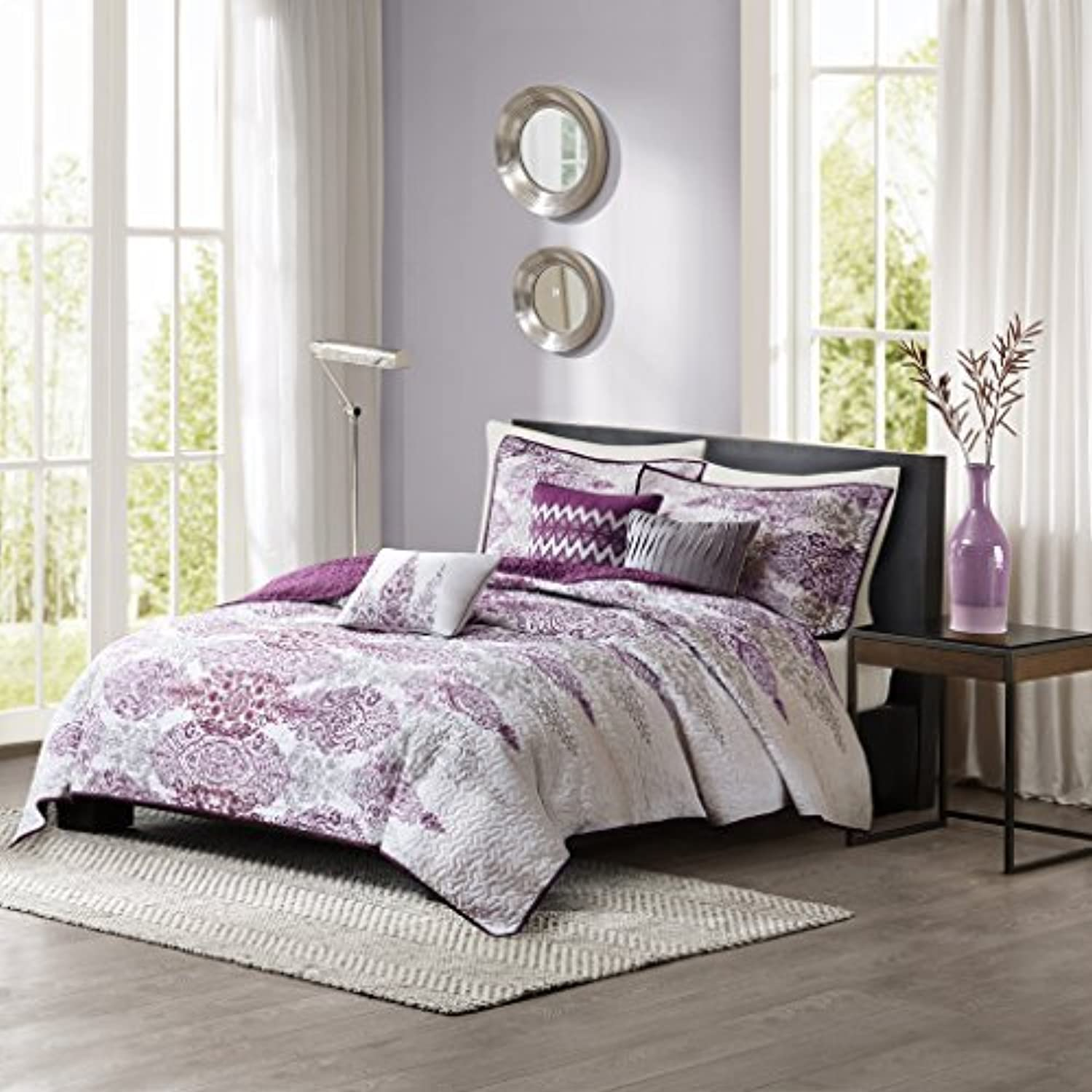 Madison Park Sonali King Cal King Size Quilt Bedding Set - Purple, Floral Damask – 6 Piece Bedding Quilt Coverlets – Ultra Soft Microfiber Bed Quilts Quilted Coverlet
