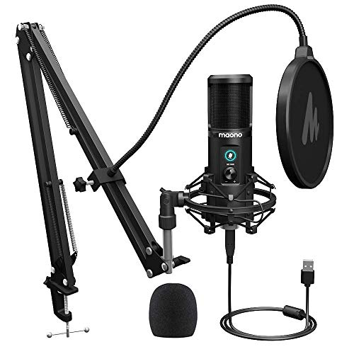 USB Microphone,MAONO AU-PM421 Condenser Cardioid Mic 192KHZ/24BIT Plug and Play with One-Touch Mute and Gain Knob for Computer,PC,Podcast,Gaming,Recording,ASMR,YouTube,Streaming