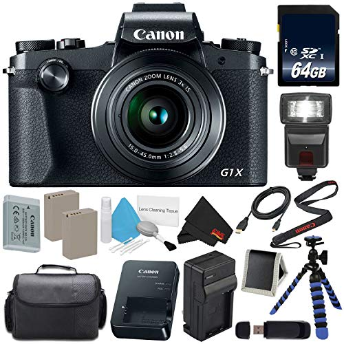 Canon PowerShot G1 X Mark III Digital Camera #2208C001 International Version (No Warranty) + Replacement Lithium Ion Battery + External Rapid Charger + 128GB SDXC Memory Card + Carrying Case Bundle