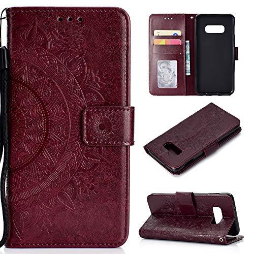CoverKingz Handyhülle für Samsung Galaxy S10e - Handytasche mit Kartenfach S10e Cover - Handy Hülle klappbar Motiv Mandala Braun