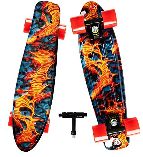 OISIN Penny Board 22 inch Beginner Skateboards for Kids, Complete Mini Cruiser Skateboard for Kids Ages 6-12, Teens, Adults, Boys, Girls- Pennyboard Skate Board with Skate Tool for Adjusting